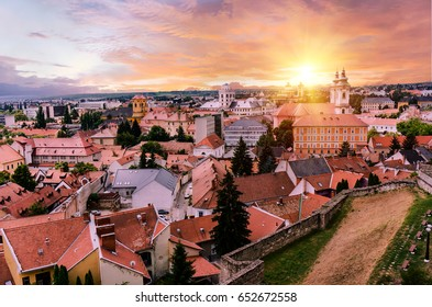 Vibrant sunset over Eger, Hungary