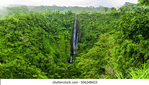 Vibrant tall Papapapaitai falls on Upolu island, Samoa