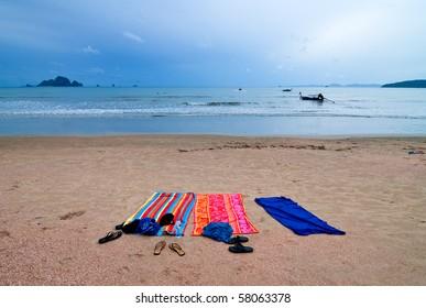 Vibrant towels on the beach, Krabi Thailand