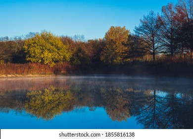 Vibrant Tree Reflection on Lake with Early  Morning Fog, Duck Creek Park Garland Texas