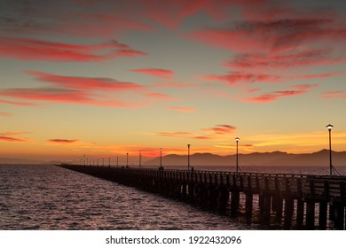 Vibrant Twilight Sky over Berkeley Pier. Berkeley, Alameda County, California, USA.