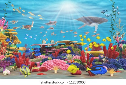 A vibrant underwater coral scene showing Fish, underwater mammals, and bright coral .