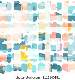 Vibrant watercolor geometric and brush strokes seamless pattern