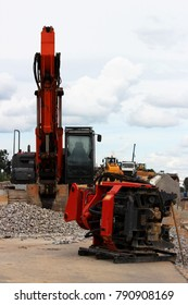 Vibrator pile driving Machine or vibro hammer stands on the site of construction of a major road junction. Russia.