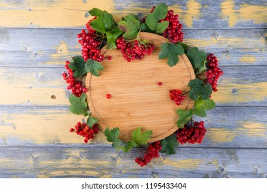 viburnum on a wooden background,an empty plate for text