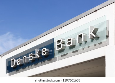 Viby, Denmark - October 7, 2018: Danske bank building in Denmark. Danske bank is the largest bank in Denmark and a major retail bank in the northern European region