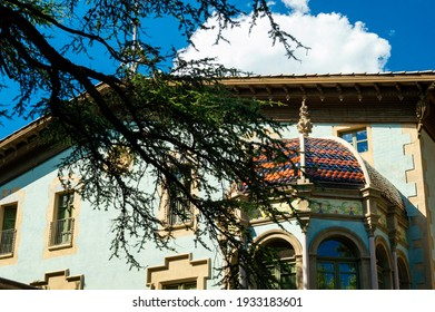 Vic, Barcelona, Spain; August, 19, 2021: The architeture of Vic, streets, church and a modernism