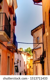 Vic, Spain - August 2019 : Historical center in sunny weather, HDR Image