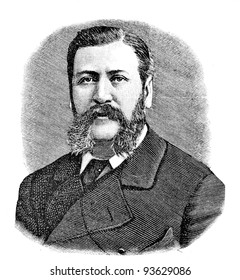"""Vice Admiral Vladimir Basargin. Engraving by Shyubler. Published in magazine """"Niva"""", publishing house A.F. Marx, St. Petersburg, Russia, 1893"""