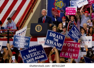 Vice President Mike Pence takes the stage at a rally held in Harrisburg, PA to commemorate his and President Donald Trump's 100th day in office, Saturday, April 29, 2017.