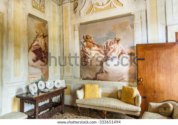 VICENCA, ITALY - AUG 4, 2009: villa Valmarana ai Nani in Vicenca, Italy. The villa was build by Andrea Palladio in 1669 and is decorated with frescos from Giovanni Battista Tiepolo.