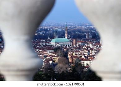 Vicenza and the Basilica Palladiana seen from Piazzale della Vittoria, at Monte Berico.