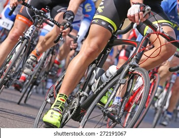 Vicenza, Italy - April 12, 2015: bikers run fast on racing bikes during cycle road race