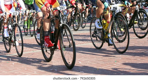 Vicenza, Italy - April 30, 2017: important cycling race called Gran Fondo Liotto with many cyclists on bicycles