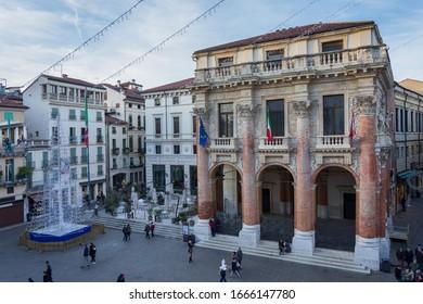 Vicenza, Italy. December 26, 2016: The Palazzo del Capitaniato, also known as the loggia del Capitaniato or loggia Bernarda, is a palace by Andrea Palladio overlooking the central Piazza dei Signori