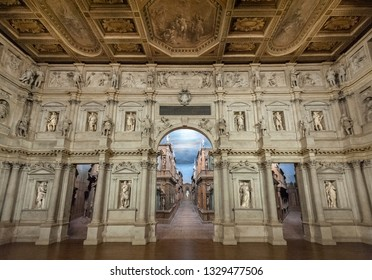 VICENZA, ITALY - DECEMBER 29, 2018: Interior view of the Olympic theatre (teatro olimpico), the oldest surviving stage set still in existence of the renaissance period designed by the Andrea Palladio