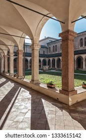 VICENZA, ITALY - DECEMBER 29, 2018: Cloister of San Lorenzo Church (tempio San Lorenzo), a Catholic place of worship in Vicenza, built in the Gothic style - Vicenza, Italy