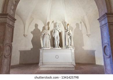 VICENZA, ITALY - DECEMBER 29, 2018: Crypt of Chiesa di Santa Corona, Vicenza - Italy