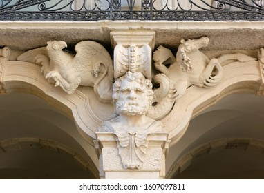 VICENZA, Italy - December 29, 2019: Detail of the richly decorated Hercules Loggia of the Leoni Montanari Palace