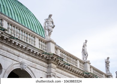 """Vicenza Italy. A detail of the roof of the great monument """"Basilica Palladiana"""" in the """"Signori square"""" this building has been designed by Andrea Palladio in the renaissance period"""