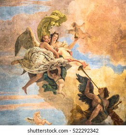 Vicenza, Italy - May 13, 2015: Detail of a painting on the ceiling of a little church in the town.