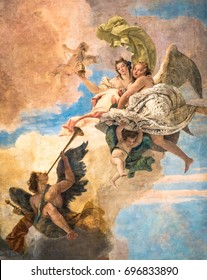 Vicenza, Italy - May 13, 2015: Detail of a painting on the ceiling of a neoclassical villa.