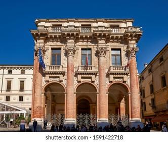 Vicenza, Veneto, Italy. The palazzo del Capitaniato, also known as loggia del Capitanio or loggia Bernarda. Vicenza Italy September 2019