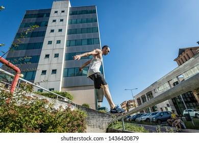 Vicenza, Veneto/Italia - 06 19 2019: Next Area, group of young guys meet for parkour training together