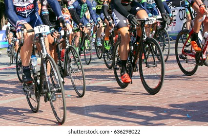 Vicenza, VI, Italy - April 30, 2017: cyclists with racing bikes during the bicycle race called GranFondoLiotto on the road