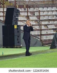 Vicenza, VI,  Italy - October 15, 2018: Football match Italy vs Tunisia under 21 at Menti Stadium. The coach is Mister Luigi Di Biagio