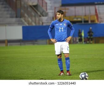 Vicenza, VI,  Italy - October 15, 2018: Football match Italy vs Tunisia under 21 at Menti Stadium. Player: Locatelli Manuel