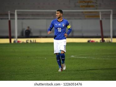 Vicenza, VI,  Italy - October 15, 2018: Football match Italy vs Tunisia under 21 at Menti Stadium. Player: Mandragola Rolando