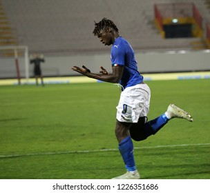 Vicenza, VI,  Italy - October 15, 2018: Football match Italy vs Tunisia under 21 at Menti Stadium. The player is Kean Moise