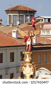 Vicenza, VI, Italy - September 12, 2015: Ancient Wooden Monument called LA RUA symbol of the City with a statue on top