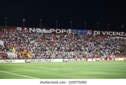 Vicenza, VI, Italy - September 2, 2016: football match between the Italian national team and Serbia Under 21 at Menti Stadium