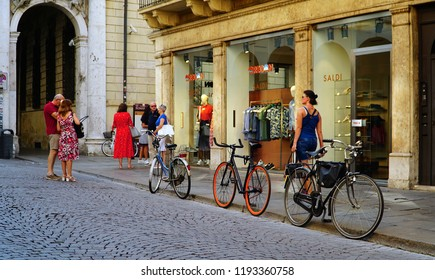 Vicenza/Veneto/Italy - 4 August 2018:  View of the city of Vicenza, Italy. Bicycle is the popular personal transport for Italian people.