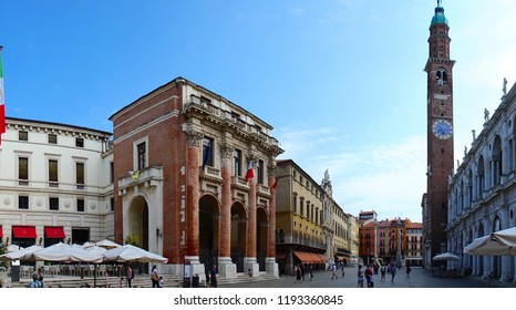 Vicenza/Veneto/Italy - 4 August 2018:  View of the city of Vicenza, Italy.