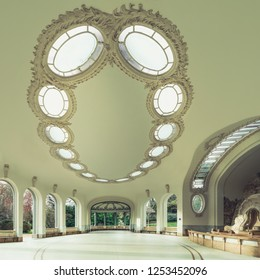 Vichy, France - 2018 ; The interior of the Vichy Célestins sources pavilion, with its remarkable Louis XVI neo-design and stained glass ceiling. Water gushes from faults of an aragonite rock