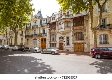 VICHY, FRANCE - August 01, 2017: View on the beautiful old residential buildings in Vichy city in the Allier department of central France