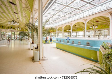 VICHY, FRANCE - August 01, 2017: Beautiful interior view of the old thermal pump-room with healing water in Vichy city in France