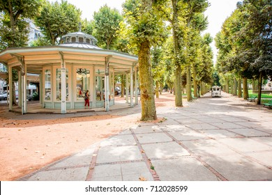 VICHY, FRANCE - August 01, 2017: Park near the thermal spa building in Vichy city, France