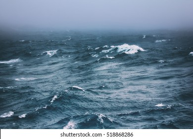 Vicious circle. Melting of Ice caps at North pole leads to overheating of water in summer and to stormy weather and destruction of ice: turbulent waves of Arctic ocean (offing, 82-83 degrees N)