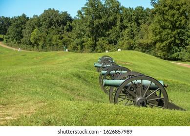 Vicksburg, Mississippi / USA - August 12, 2019: Monuments at the Vicksburg National Military Park in Vicksburg, Mississippi.