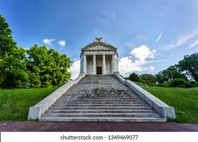 Vicksburg, Mississippi / USA - June 1, 2018: View of Illinois Memorial on the grounds of Vicksburg National Military Park.
