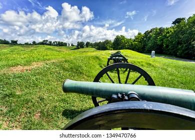 Vicksburg, Mississippi / USA - June 1, 2018: Cannon on display at Vicksburg National Military Park.