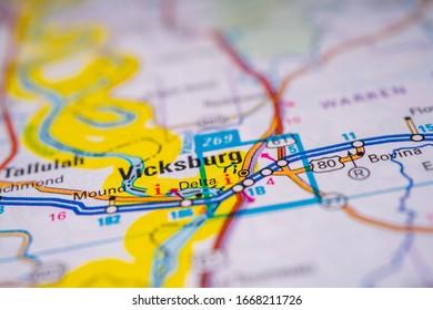 Vicksburg on USA map background
