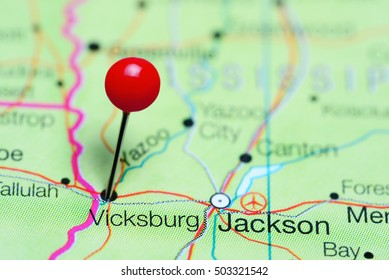Vicksburg pinned on a map of Mississippi, USA