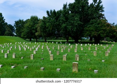 Vicksburg, USA - June 22, 2014: Tombstones of unknown soldiers at the Vicksburg National Cemetery, in Vicksburg, Mississippi, USA