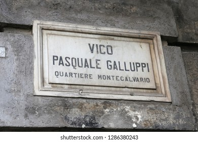 Vico Pasquale Galluppi Street Sign in Naples City, Italy