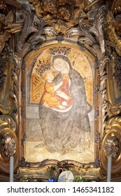 Vicoforte, Italy - August 17, 2016: Sanctuary of Vicoforte, Virgin Mary miraculous ancient icon in Piedmont, Italy